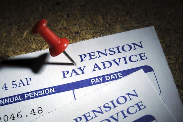 PRIVATE PENSION PAY ADVICE ON NOTICE BOARD WITH PIN