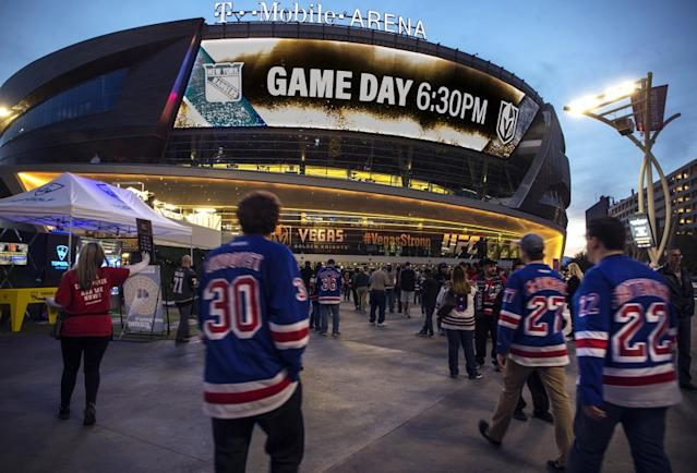 "T-Mobile Arena in Las Vegas is one of several potential candidates to serve as a playoff hub for the NHL once games resume. <span class=""copyright"">(L.E. Baskow / Associated Press)</span>"