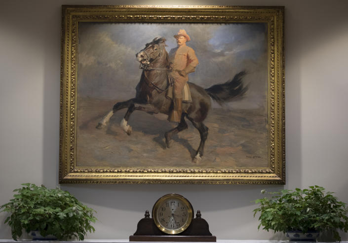 """<p>A portrait of Teddy Roosevelt """"The Rough Rider"""" by Tadé (Thadeus) Styka is seen in the newly renovated Roosevelt Room of the White House in Washington, Tuesday, Aug. 22, 2017, during a media tour. (Photo: Carolyn Kaster/AP) </p>"""