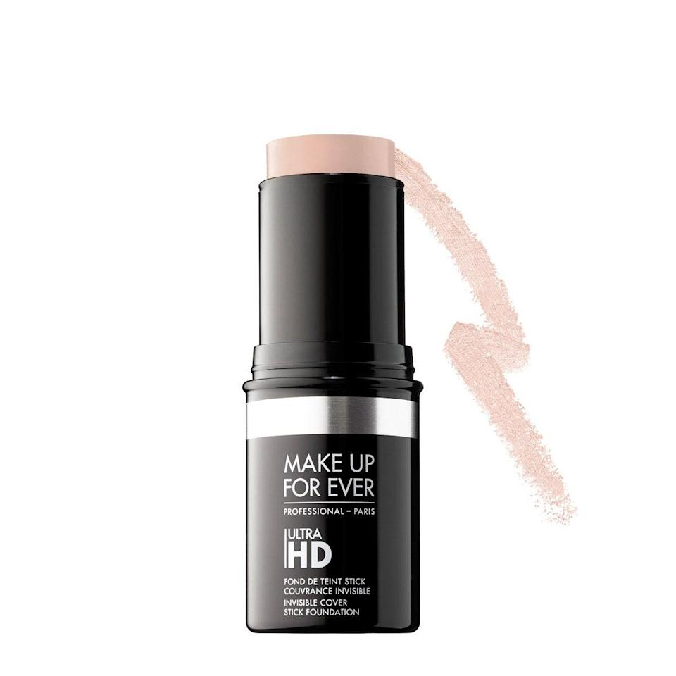 """When it comes to coverage and finish, Spikard is a huge fan of this stick foundation. """"This is a buildable medium to full-coverage foundation with a nice dewy, natural finish,"""" he says. """"It blends into skin seamlessly and gives a rich coverage you want when covering a blemish. It's especially versatile as a spot concealer."""" $43, Make Up For Ever. <a href=""""https://shop-links.co/1709084994486103046"""" rel=""""nofollow noopener"""" target=""""_blank"""" data-ylk=""""slk:Get it now!"""" class=""""link rapid-noclick-resp"""">Get it now!</a>"""