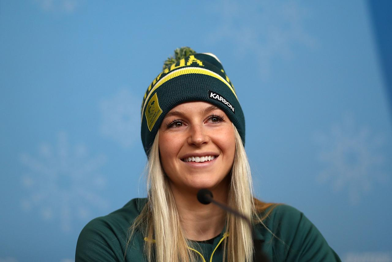 <p>PYEONGCHANG-GUN, SOUTH KOREA – FEBRUARY 07: Australian Aerial Skier Danielle Scott speaks during a press conference during previews ahead of the PyeongChang 2018 Winter Olympic Games.<br /> (Getty Images) </p>