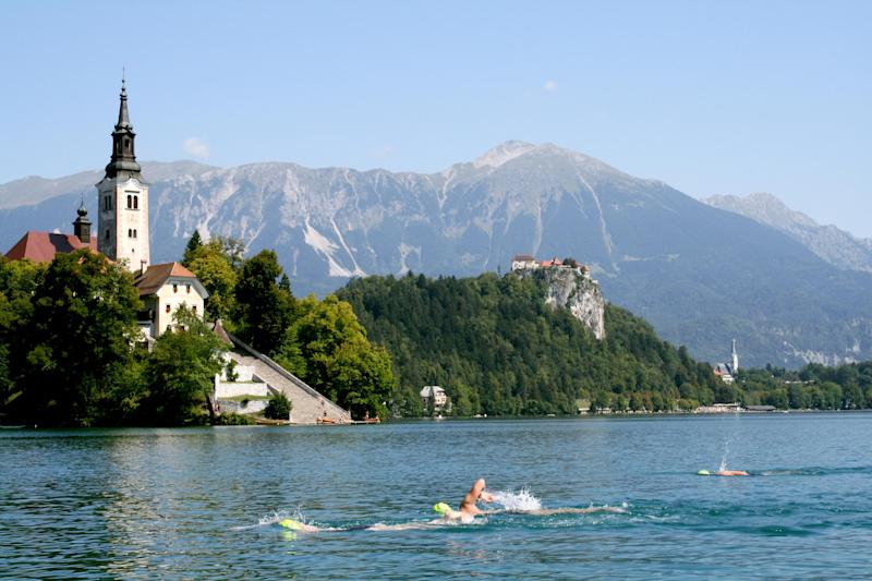 Swimming in Lake Bled gives a whole other perspective on the famous landmark: Strel Swimming Adventures