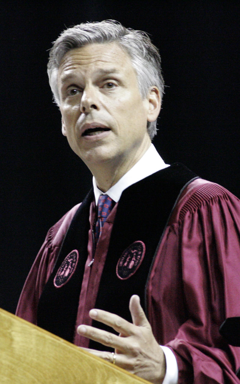 Former U.S. Ambassador to China and former Utah Gov. Jon Huntsman speaks at the commencement ceremony for the University of South Carolina on Saturday, May 7 2011 in Columbia, S.C.  Huntsman, weighing a Republican White House bid, used his first formal event after stepping down as President Barack Obama's ambassador to China to confront the line on his resume that conservatives were mostly likely to declare a deal-breaker. In a high-profile speech to the University of South Carolina, Huntsman said patriotism should trump partisanship and defended his two years in Beijing as the Democratic administration's top diplomat. (AP Photo/Mary Ann Chastain)