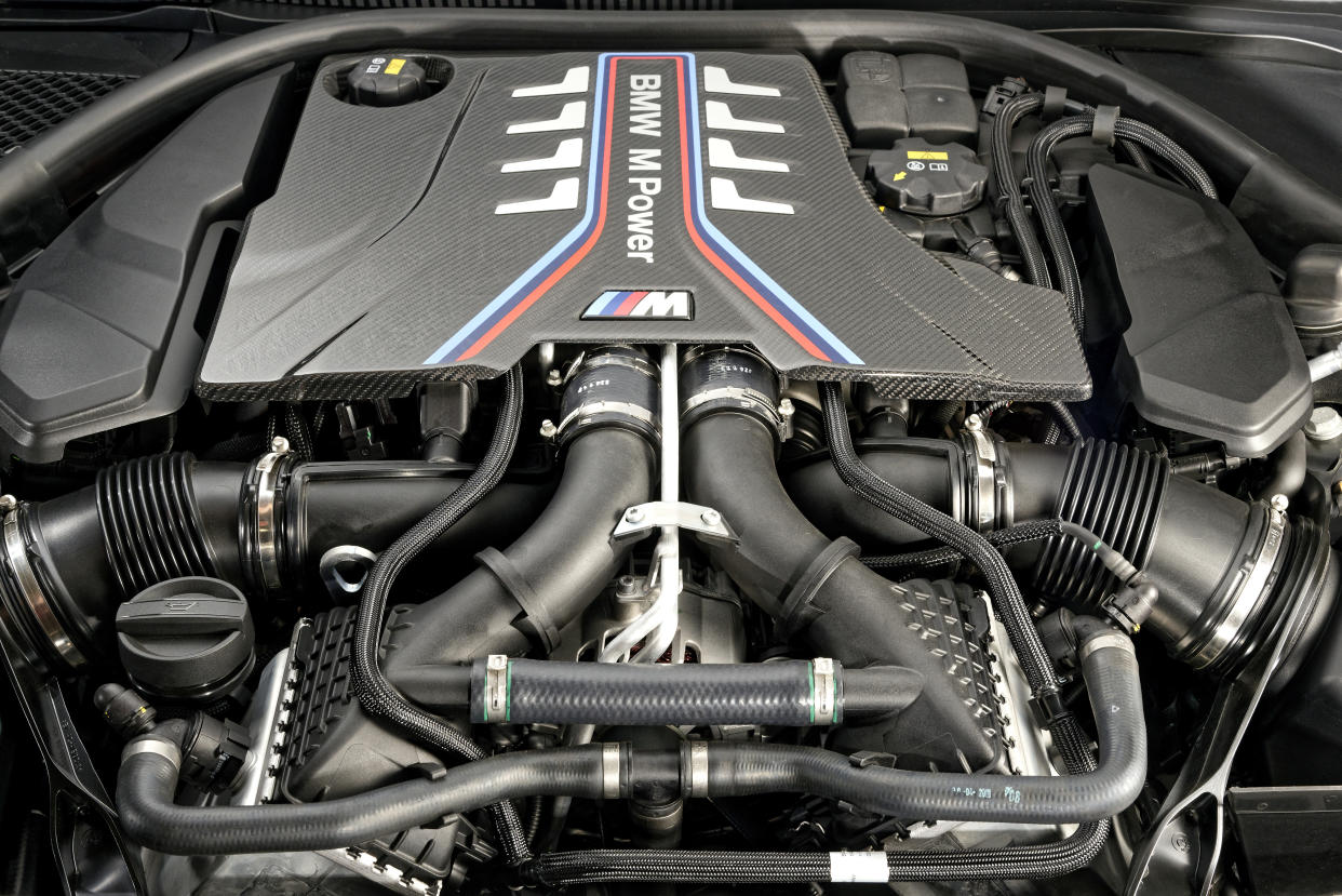 A 4.4-litre twin-turbocharged V8 resides under the M8's bonnet
