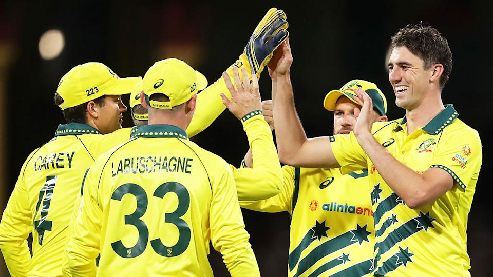 Pictured here, Australia's players celebrate during an ODI match against New Zealand.