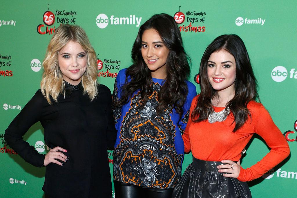 "Ashley Benson, Shay Mitchell and Lucy Hale attend ABC Family's ""25 Days Of Christmas"" Winter Wonderland Event at Rockefeller Center on December 2, 2012 in New York City."