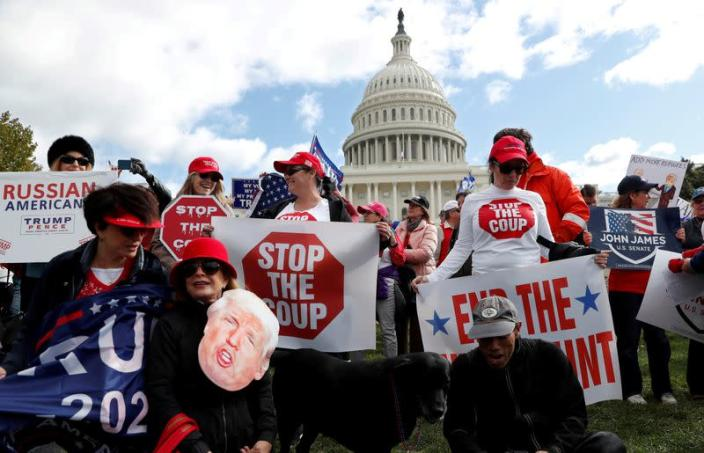 FILE PHOTO: Supporters of U.S. President Donald Trump rally outside the U.S. Capitol building in Washington