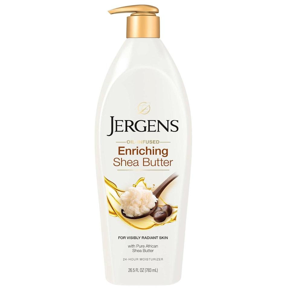 """<p>The <a href=""""https://www.popsugar.com/buy/Jergens-Shea-Butter-Lotion-588646?p_name=Jergens%20Shea%20Butter%20Lotion&retailer=target.com&pid=588646&price=8&evar1=bella%3Aus&evar9=30490550&evar98=https%3A%2F%2Fwww.popsugar.com%2Fphoto-gallery%2F30490550%2Fimage%2F47612595%2FBody-Lotion-Jergens-Shea-Butter-Lotion&list1=hair%2Cmakeup%2Cbeauty%20products%2Cbeauty%20shopping%2Cdrugstore%20beauty%2Cskin%20care&prop13=api&pdata=1"""" class=""""link rapid-noclick-resp"""" rel=""""nofollow noopener"""" target=""""_blank"""" data-ylk=""""slk:Jergens Shea Butter Lotion"""">Jergens Shea Butter Lotion</a> ($8) covers your body in deep, rich moisture without leaving the skin feeling greasy.</p>"""