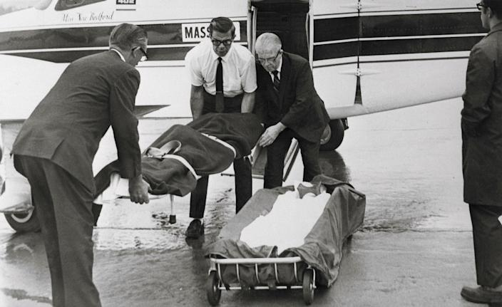 The body of Mary Jo Kopechne, former employee of the late Sen. Robert F. Kennedy, is removed from a charter plane at Wilkes-Barre-Scranton airport and taken to a Plymouth, Pa. funeral home. Miss Kopechne died July18, 1969, at Edgartown, Martha's Vineyard in a car driven by Sen. Edward M. Kennedy, after it plunged into an island pond. (Photo: Bettmann/Getty Images)