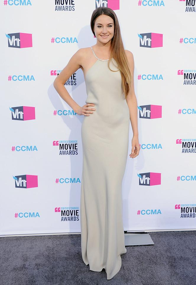 """<a href=""""http://movies.yahoo.com/movie/contributor/1804734325"""">Shailene Woodley</a> at the 17th Annual Critics' Choice Awards in Hollywood on January 12, 2012."""