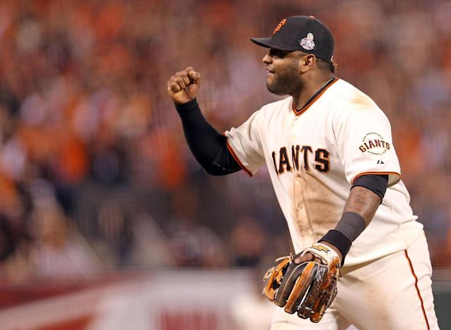 SAN FRANCISCO, CA - OCTOBER 25: Pablo Sandoval #48 of the San Francisco Giants reacts after Gerald Laird #9 (not pictured) of the Detroit Tigers grounded out in to end the top of the eighth inning during Game Two of the Major League Baseball World Series at AT&T Park on October 25, 2012 in San Francisco, California. (Photo by Christian Petersen/Getty Images)