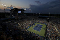 Felix Auger-Aliassime, of Canada, and Stefanos Tsitsipas, of Greece, pause during a match at the Western & Southern Open tennis tournament after sunset Friday, Aug. 20, 2021, in Mason, Ohio. (AP Photo/Aaron Doster)