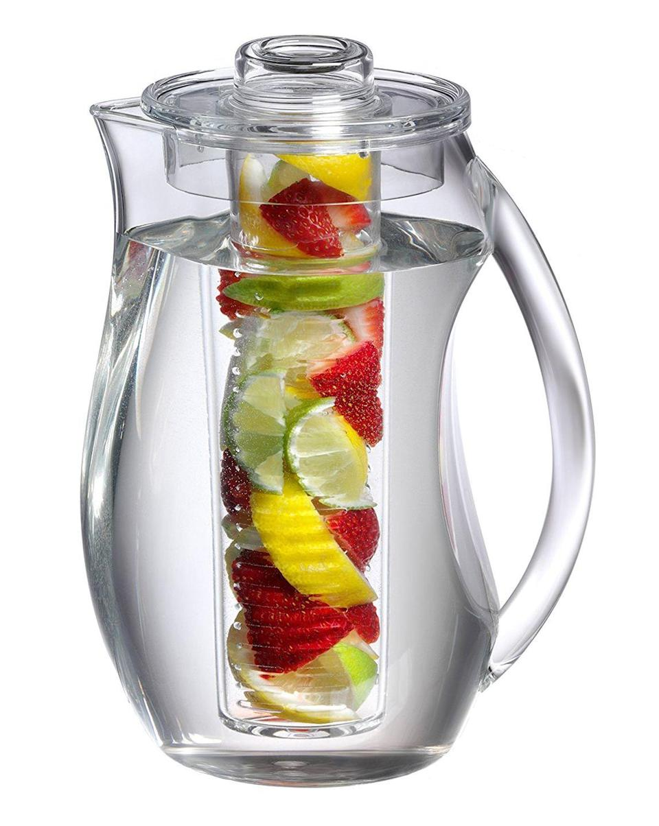 """<p>You can pack the center tube of this pitcher with anything, and the water will take on the flavor. Try a lemon-cucumber-mint trio to fake a spa vibe when your in-laws are visiting.</p><p><strong><em>BUY IT NOW: Prodyne Fruit Infusion Flavor Pitcher, $20; </em></strong><a href=""""https://www.amazon.com/dp/B0023UL86A?tag=syn-yahoo-20&ascsubtag=%5Bartid%7C10063.g.35536497%5Bsrc%7Cyahoo-us&th=1"""" rel=""""nofollow noopener"""" target=""""_blank"""" data-ylk=""""slk:Amazon.com"""" class=""""link rapid-noclick-resp""""><strong><em>Amazon.com</em></strong></a></p>"""