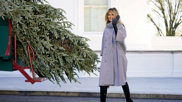 PHOTO: First lady Melania Trump waves as she stands next to the 2020 Official White House Christmas tree as it is presented on the North Portico of the White House, Nov. 23, 2020, in Washington. (Andrew Harnik/AP)