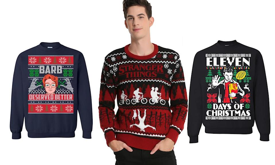 """<p>Friends don't lie, and neither do we: These garments are a fine way to show your love of the Netflix series this Christmas. <strong>Buy <a rel=""""nofollow noopener"""" href=""""https://www.amazon.com/Stranger-Deserved-Christmas-Sweater-Sweatshirt/dp/B076X7BF6R/ref=sr_1_8?s=apparel&ie=UTF8&qid=1511366115&sr=1-8&nodeID=7141123011&psd=1&keywords=stranger+things+ugly+christmas+sweater"""" target=""""_blank"""" data-ylk=""""slk:here"""" class=""""link rapid-noclick-resp"""">here</a>, <a rel=""""nofollow noopener"""" href=""""http://www.boxlunch.com/product/stranger-things-ugly-holiday-sweater/11089586.html#q=christmas%2Bsweater&start=2"""" target=""""_blank"""" data-ylk=""""slk:here"""" class=""""link rapid-noclick-resp"""">here</a>, and <a rel=""""nofollow noopener"""" href=""""https://www.amazon.com/Motivashirts-Stranger-Christmas-Sweater-Sweatshirt/dp/B077KBXV4J/ref=sr_1_10?s=apparel&ie=UTF8&qid=1511366115&sr=1-10&nodeID=7141123011&psd=1&keywords=stranger+things+ugly+christmas+sweater"""" target=""""_blank"""" data-ylk=""""slk:here"""" class=""""link rapid-noclick-resp"""">here</a></strong> </p>"""