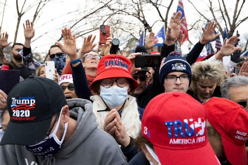 People gather in support of President Donald Trump as his followers believe the election result was unfair. Source: Getty