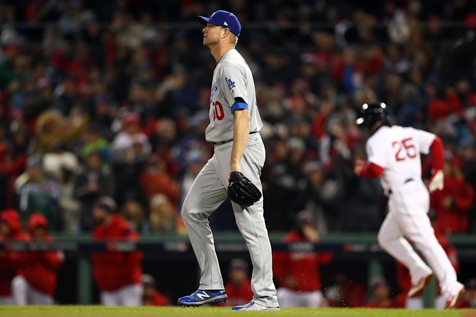 For the second night in a row, Ryan Madson struggled out of the bullpen for the Los Angeles Dodgers. (Getty Images)