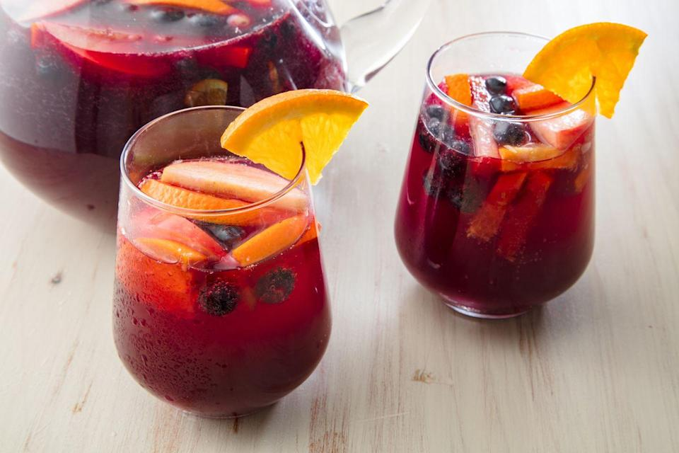 """<p>Red wine, club soda, citron vodka, berry water enhancer, and limes make <a href=""""https://www.lowcarb-ology.com/low-carb-red-sangria-recipe/"""" rel=""""nofollow noopener"""" target=""""_blank"""" data-ylk=""""slk:this"""" class=""""link rapid-noclick-resp"""">this</a> the perfect stand-in for sangria. Make a batch so you can easily pour from a pitcher instead of mixing a new drink every time.</p>"""
