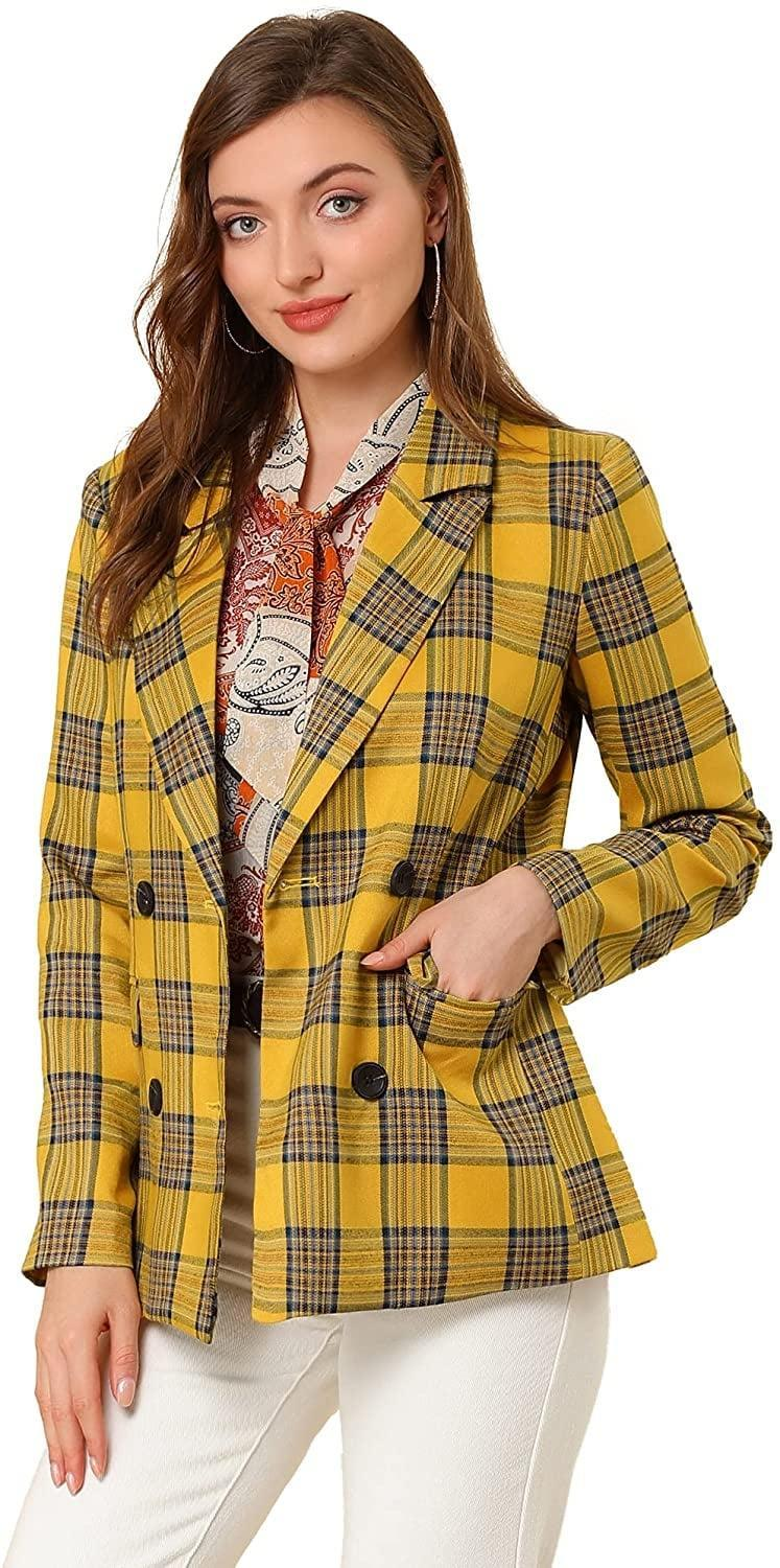 <p><span>Allegra K Notched Lapel Double Breasted Blazer</span> ($49)</p>