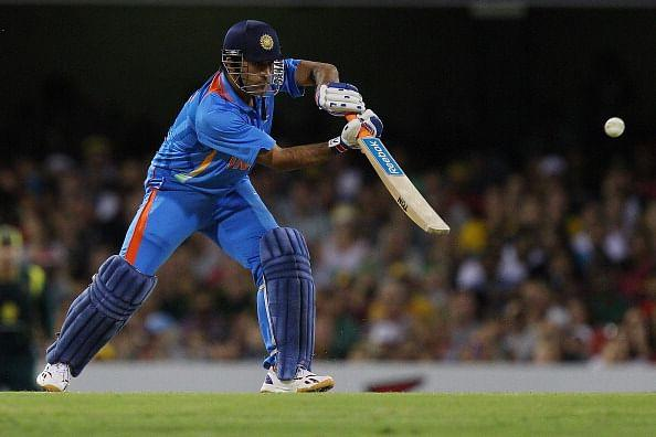 BRISBANE, AUSTRALIA - FEBRUARY 19: MS Dhoni of India bats during game seven of the One Day International series between Australia and India at The Gabba on February 19, 2012 in Brisbane, Australia. (Photo by Chris Hyde/Getty Images)