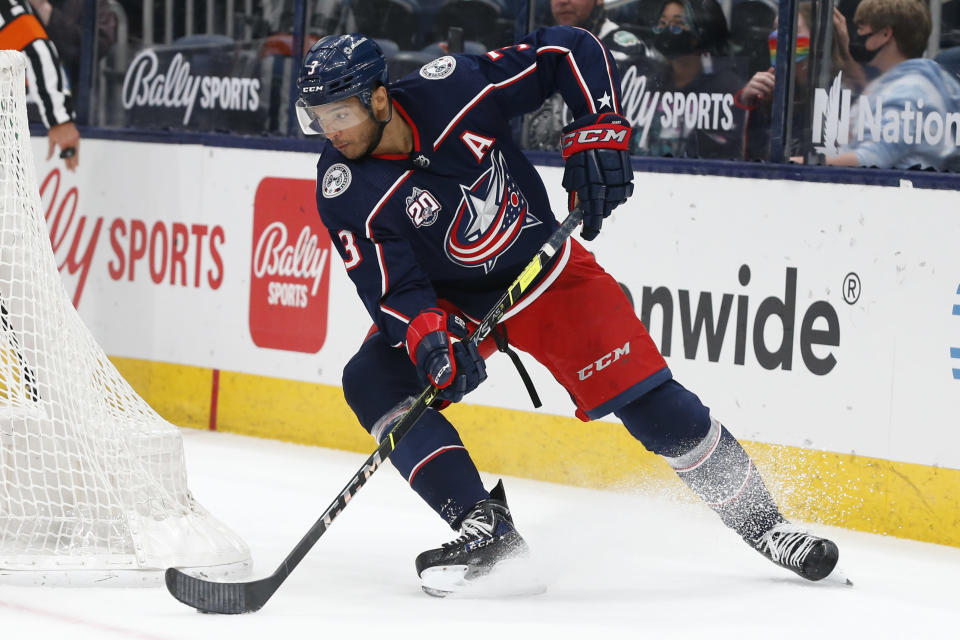 FILE - In this May 3, 2021, file photo, Columbus Blue Jackets' Seth Jones plays against the Nashville Predators during an NHL hockey game in Columbus, Ohio. Jones has been traded from the Blue Jackets to the Chicago Blackhawks, according to a person with knowledge of the move. The person spoke to The Associated Press on condition of anonymity Friday, July 23, because the trade had been agreed to but the call not completed yet.(AP Photo/Jay LaPrete, File)