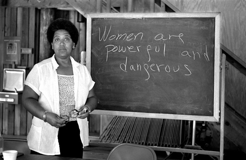 Feminist writer poet and civil rights activist Audre Lorde poses for a photograph during her 1983 residency at the Atlantic Center for the Arts in New Smyrna Beach, Florida. (Photo: Robert Alexander via Getty Images)