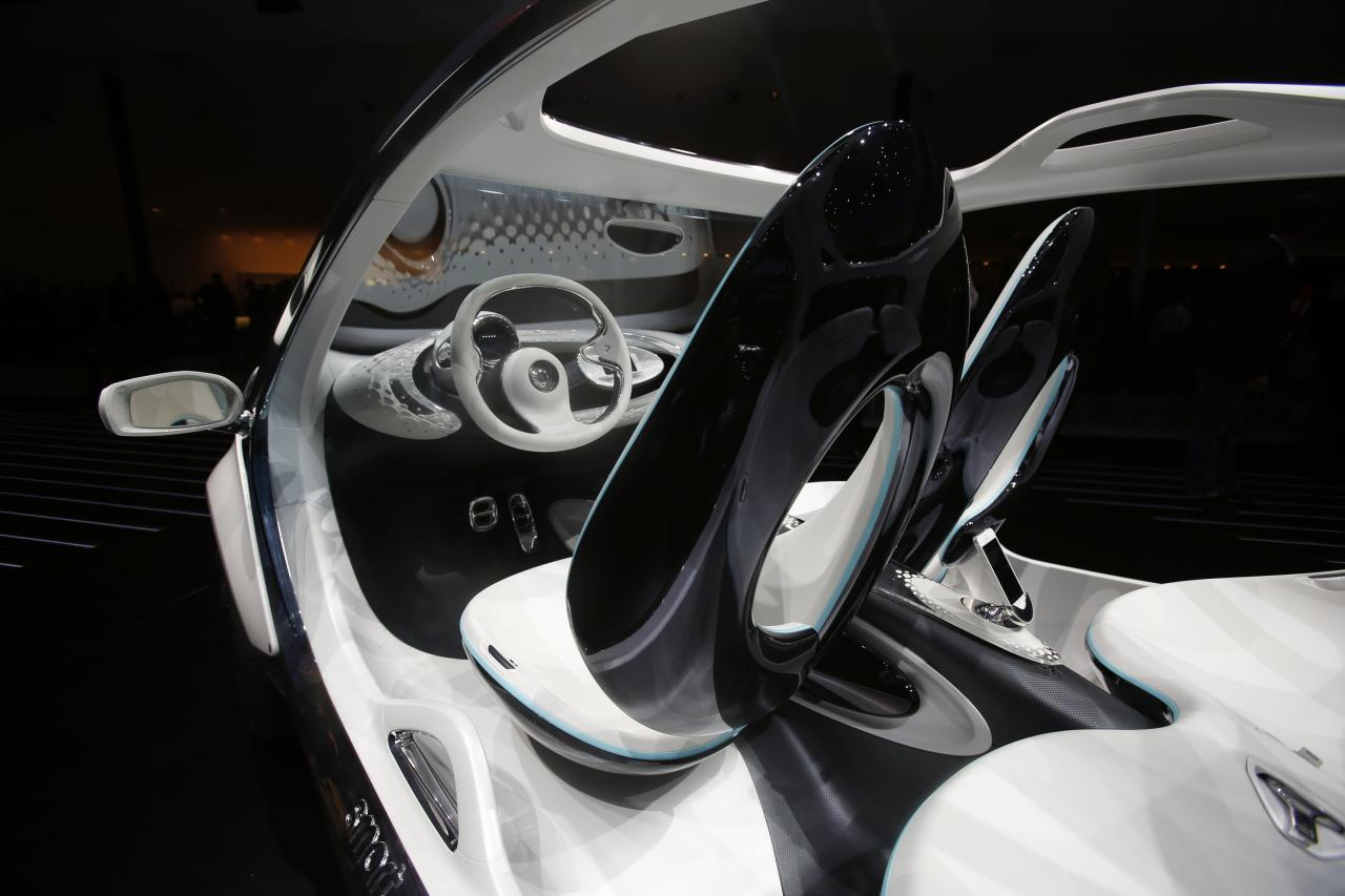 The interior view of a Smart Fourjoy prototype is pictured during the world premiere of the four-seater Smart at the Smart Mercedes media night of the Frankfurt motor show September 9, 2013. The world's biggest auto show is open to the public September 14 -22. REUTERS/Wolfgang Rattay (GERMANY - Tags: BUSINESS TRANSPORT)