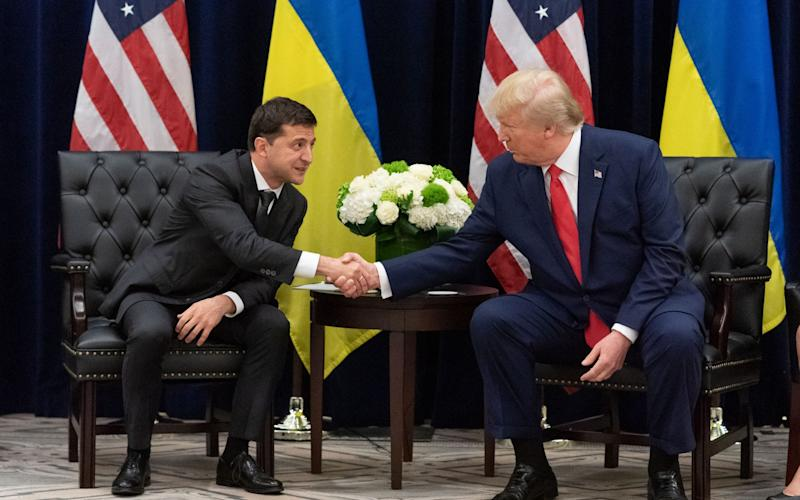 Ukraine's President Volodymyr Zelensky and US President Donald Trump during a meeting on the sidelines of the 74th session of the United Nations General Assembly - REX