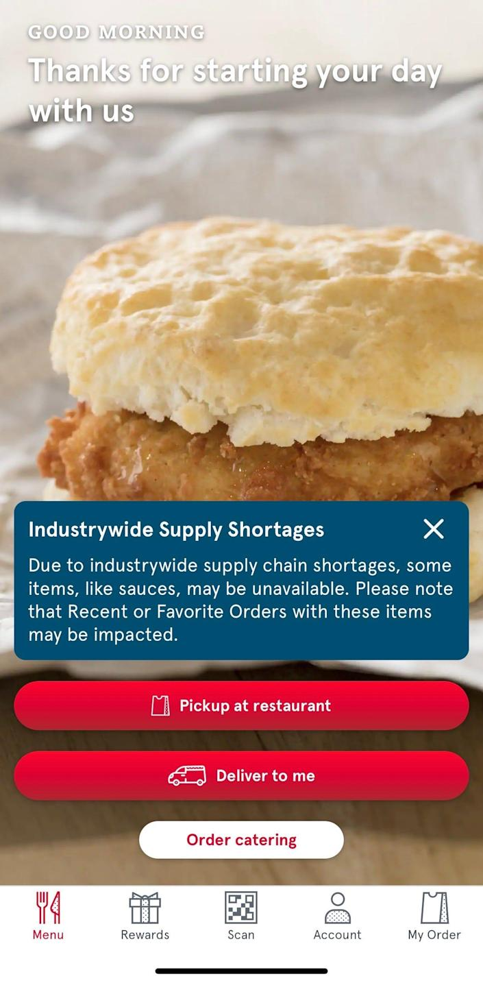 On the Chick-Fil-A app, the home screen has a notice that says there is an industrywide shortage of sauce.