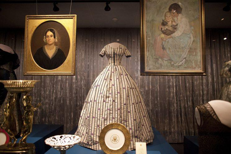 Mary Todd Lincoln's silk inauguration dress.