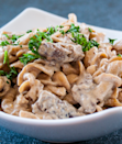 """<p>Imagine if you could cut the time for your favorite beef stroganoff recipe in half thanks to tender pieces of pre-made prime rib. This recipe makes that dream a reality.</p><p>Get the recipe from <a href=""""https://www.bakeitwithlove.com/leftover-prime-rib-beef-stroganoff/"""" rel=""""nofollow noopener"""" target=""""_blank"""" data-ylk=""""slk:Bake it with Love"""" class=""""link rapid-noclick-resp"""">Bake it with Love</a>.</p>"""