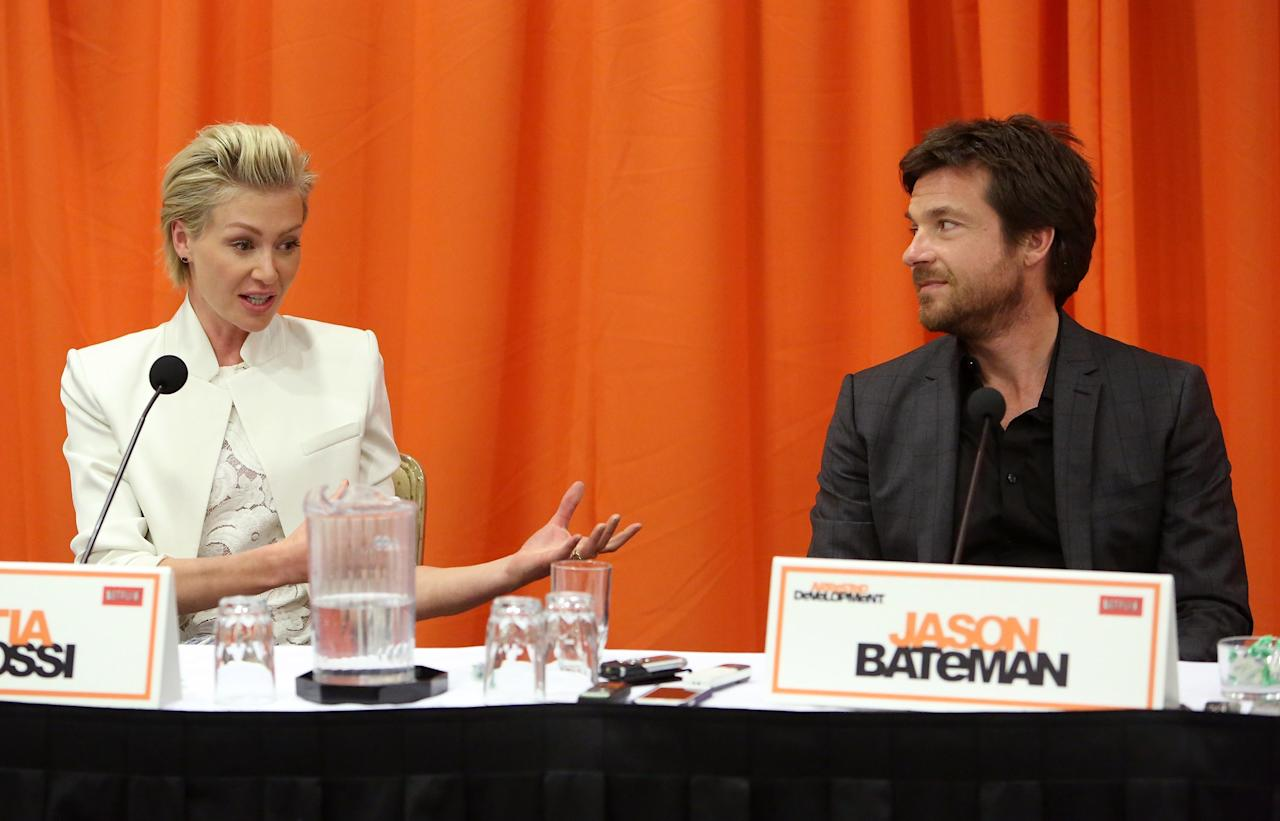 """UNIVERSAL CITY, CA - MAY 04:  Actors Portia de Rossi and Jason Bateman attend The Netflix Original Series """"Arrested Development"""" Press Conference at Sheraton Universal on May 4, 2013 in Universal City, California.  (Photo by Jesse Grant/Getty Images for Netflix)"""