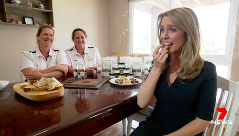 Intrepid reporter Rebecca Nicholls tries out the taste. Source: 7 News