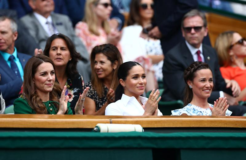 Tennis - Wimbledon - All England Lawn Tennis and Croquet Club, London, Britain - July 13, 2019 Britain's Catherine, Duchess of Cambridge, with Meghan, Duchess of Sussex, and Pippa Middleton in the Royal Box ahead of the final between Serena Williams of the U.S. and Romania's Simona Halep REUTERS/Hannah McKay