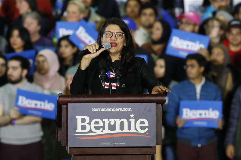 Rep. Rashida Tlaib, D-Mich., speaks at a a campaign rally for Democratic presidential candidate Sen. Bernie Sanders, I-Vt., in Detroit, Friday, March 6, 2020. (AP Photo/Paul Sancya)