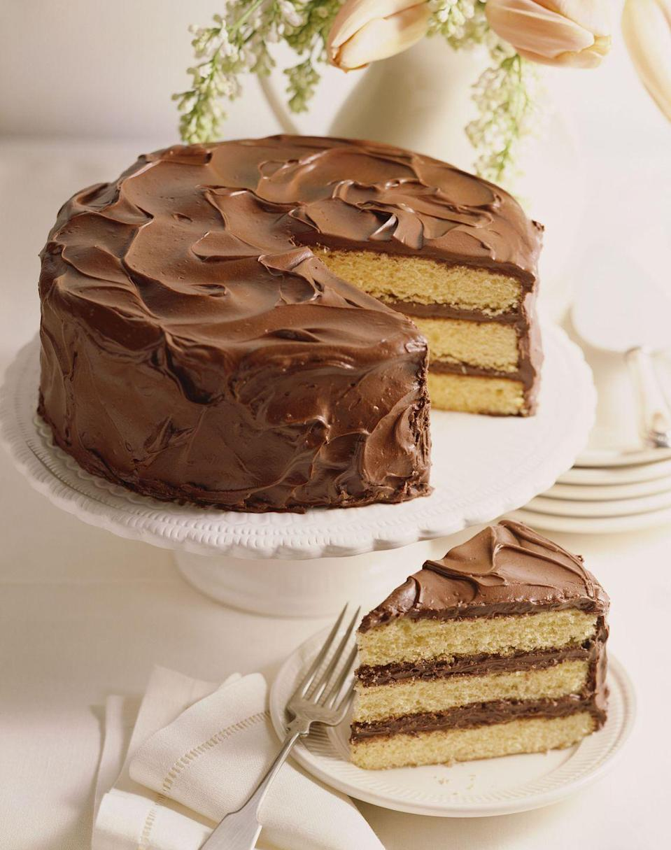 """<p>Just dump the ingredients into a bowl, mix, and pour into cake pans for an easy crowd-pleaser.</p><p><em><a href=""""https://www.goodhousekeeping.com/food-recipes/a6216/easy-chocolate-party-cake-3901/"""" rel=""""nofollow noopener"""" target=""""_blank"""" data-ylk=""""slk:Get the recipe for Easy Chocolate Party Cake »"""" class=""""link rapid-noclick-resp"""">Get the recipe for Easy Chocolate Party Cake »</a></em></p>"""