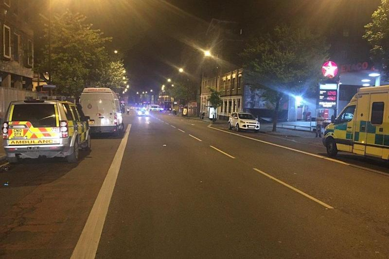 Ambulance vehicles parked near to the nightclub in Sidworth Street (@LAS_HART)