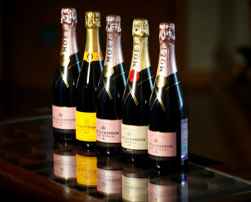Bottles of Moet & Chandon and Veuve Clicquot French champagne are seen in this illustration picture