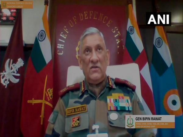 CDS General Bipin Rawat speaking at the Diamond Jubilee Webinar 2020 organised by National Defence College on Friday. [Photo/ANI]