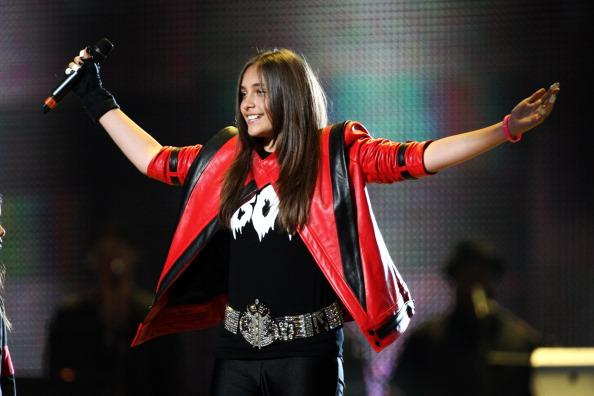 Paris Jackson appears onstage at the 'Michael Forever' concert to remember the late Michael Jackson at The Millenium Stadium on October 8, 2011 in Cardiff, United Kingdom.  (Photo by Dave J Hogan/Getty Images)