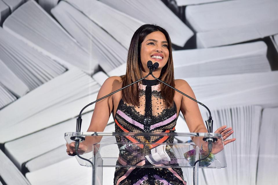 """Priyanka is arguably one of the most popular and successful Bollywood actresses out there. She starred in the ABC series <em>Quantico</em> — which made her the first South Asian woman to headline her own American network series. Priyanka's recent credits include <em>Baywatch</em>, <em>Isn't It Romantic</em>, and the music video for the <a href=""""https://www.teenvogue.com/story/sophie-turner-priyanka-chopra-danielle-jonas-stars-jonas-brothers-sucker-music-video?mbid=synd_yahoo_rss"""" rel=""""nofollow noopener"""" target=""""_blank"""" data-ylk=""""slk:Jonas Brothers' &quot;Sucker.&quot;"""" class=""""link rapid-noclick-resp"""">Jonas Brothers' """"Sucker.""""</a>"""