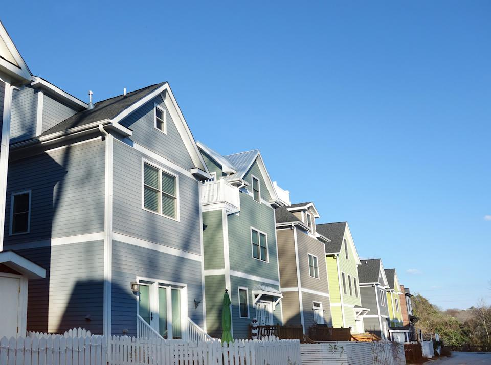 New colorful homes near downtown in Raleigh NC
