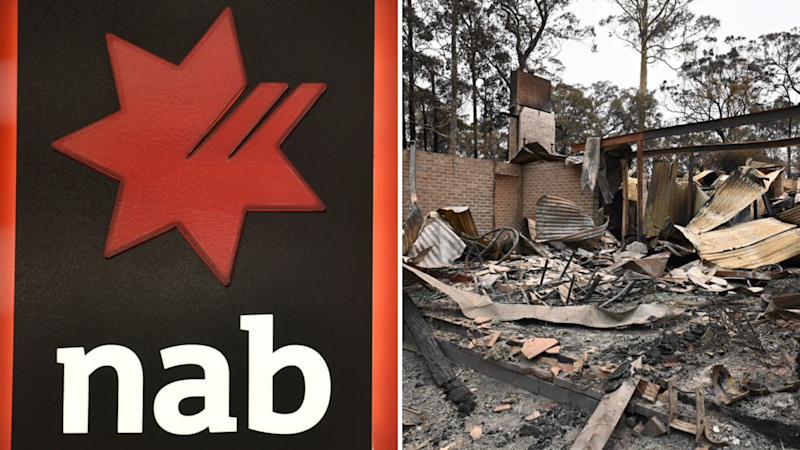 Pictured: NAB bank logo, home destroyed in NSW bushfires. Images: Getty