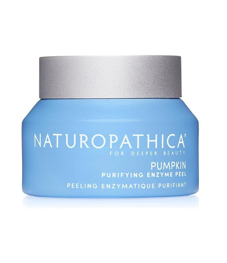 "<p>Naturopathica's Pumpkin Purifying Enzyme Peel is another excellent treatment for congested skin that could use a deep clean. In addition to pumpkin enzymes, it also contains lactic acid for added exfoliation, as well as hydrating glycerin and soothing honeysuckle extract to nourish skin. Toss this vegan formula on for 15 minutes and your skin will feel like a baby's afterward.</p> <p><strong>$58</strong> (<a href=""https://www.naturopathica.com/products/pumpkin-purifying-enzyme-peel"" rel=""nofollow noopener"" target=""_blank"" data-ylk=""slk:Shop Now"" class=""link rapid-noclick-resp"">Shop Now</a>)</p>"