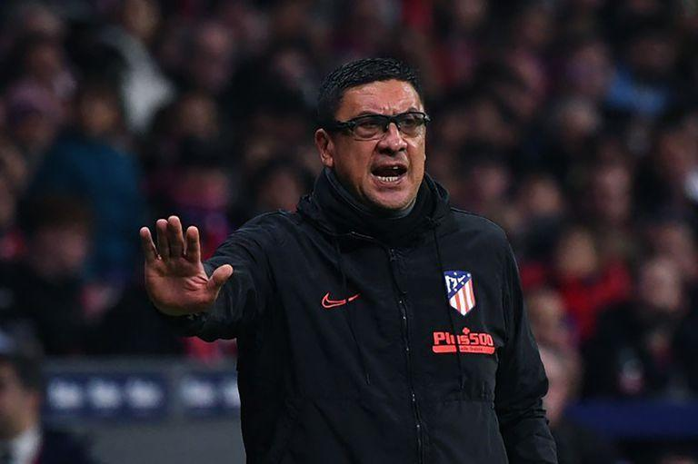 Atletico Madrid's Argentinian assistant coach German Burgos gestures during the Spanish league football match Club Atletico de Madrid against Villarreal CF at the Wanda Metropolitano stadium in Madrid on February 23, 2020. (Photo by GABRIEL BOUYS / AFP)