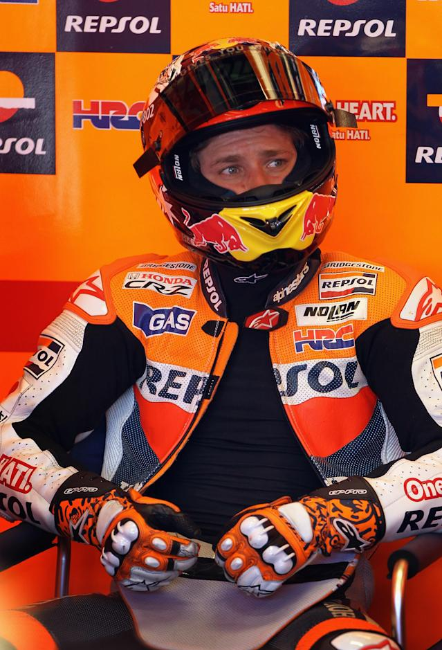 INDIANAPOLIS, IN - AUGUST 27: Casey Stoner #27 of Australia in the pit garage during Moto GP practice at Indianapolis Motorspeedway on August 27, 2011 in Indianapolis, Indiana. (Photo by Jamie Squire/Getty Images)