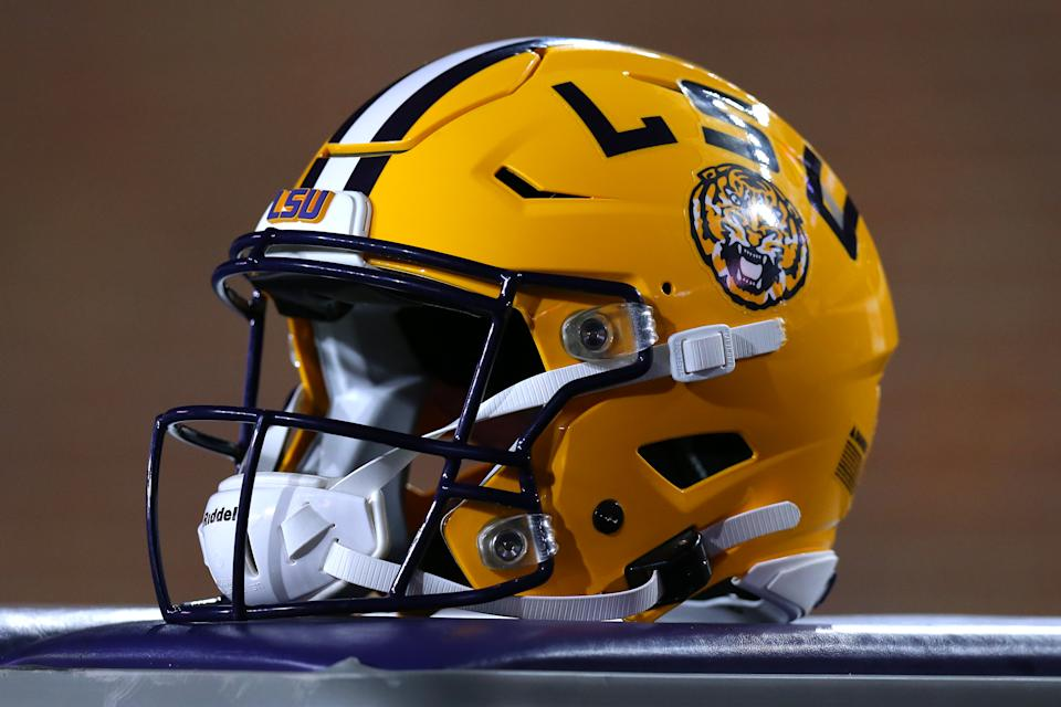 An LSU helmet is pictured during a game against the Mississippi Rebels at Vaught-Hemingway Stadium on November 16, 2019 in Oxford, Mississippi. (Photo by Jonathan Bachman/Getty Images)