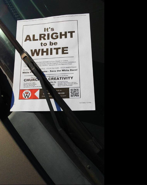 Neo-Nazi fliers allegedly distributed by a white supremacist group in Illinois have popped up on college campuses. (Photo: Courtesy of Facebook/Carbondale Racial Justice Coalition)
