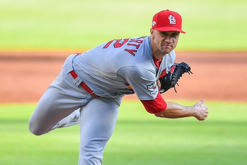 ATLANTA, GA OCTOBER 09: St. Louis Cardinals starting pitcher Jack Flaherty (22) throws a pitch during the National League Division Series game 5 between the St. Louis Cardinals and the Atlanta Braves on October 9th, 2019 at SunTrust Park in Atlanta, GA. (Photo by Rich von Biberstein/Icon Sportswire via Getty Images)