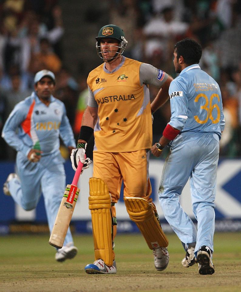 DURBAN, SOUTH AFRICA - SEPTEMBER 22:  Sreesanth of India give Matthew Hayden of Australia a send off after dismissing him during the ICC Twenty20 Cricket World Championship Semi Final match between India and Australia at Kingsmead on September 22, 2007 in Durban, South Africa.  (Photo by Hamish Blair/Getty Images)
